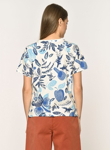 Loves You Mavi Yaprak Desenli %100 Cotton Bluz Beyaz